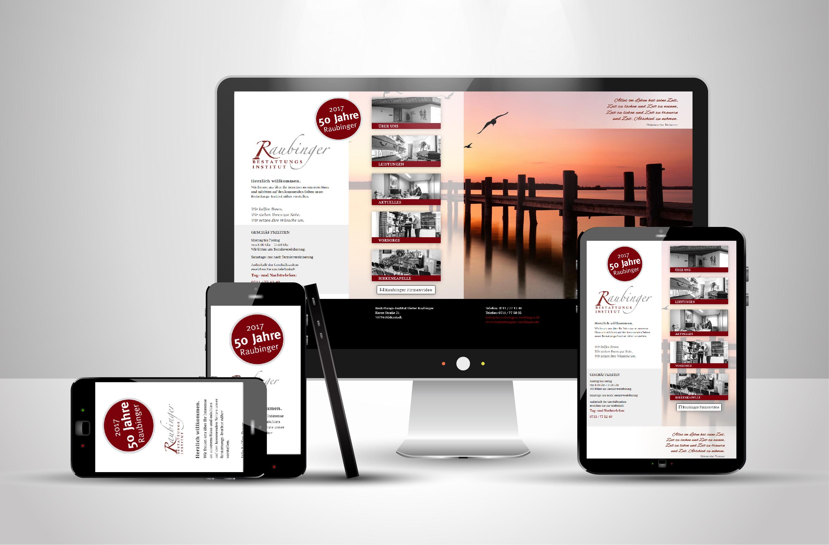 Website von Raubinger Bestattungen