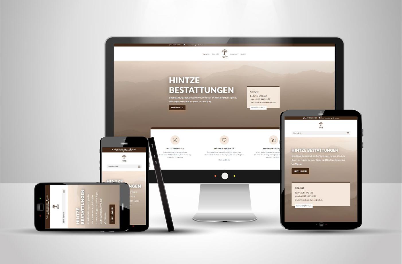Website von Hintze Bestattungen
