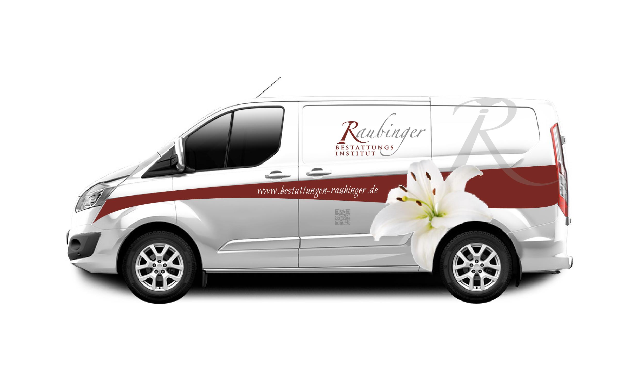 Bestattungen Raubinger_Fahrzeuggestaltung-01_Lilie_QR-Code